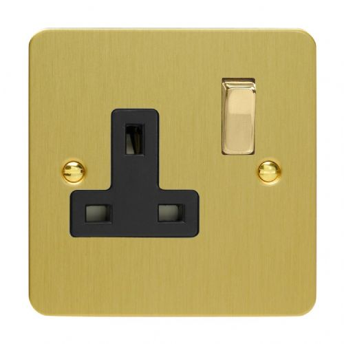Varilight XFB4DB Ultraflat Brushed Brass 1 Gang 13A DP Single Switched Plug Socket